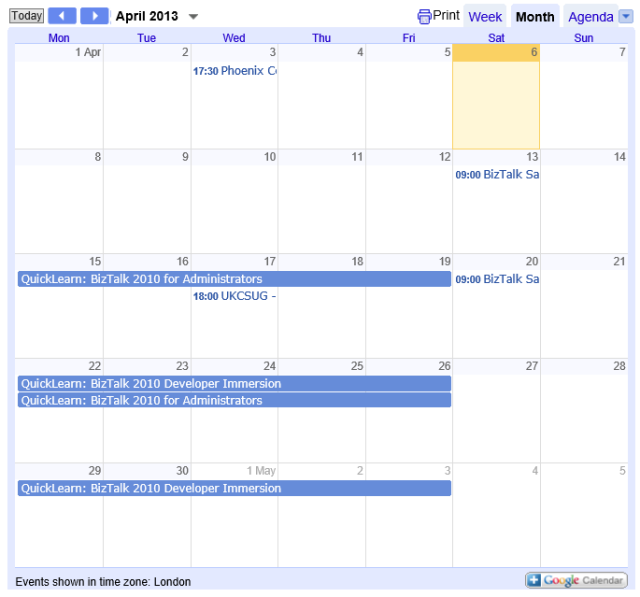Courses calendar